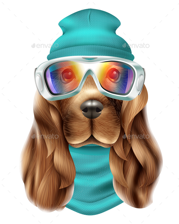 Realistic Spaniel Dog Ski Suit Portrait - Animals Characters