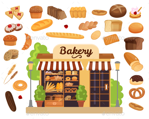 Bakery Products Flat Set - Food Objects