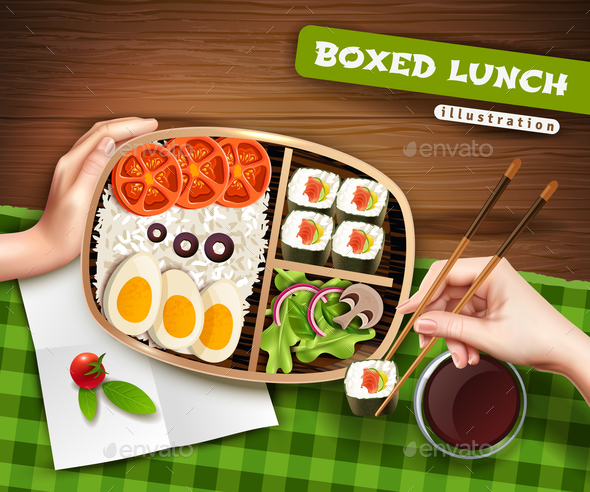 Boxed Lunch Illustration - Food Objects