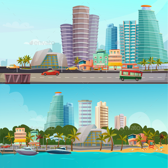 Miami Waterfront Cartoon Banners Set - Buildings Objects