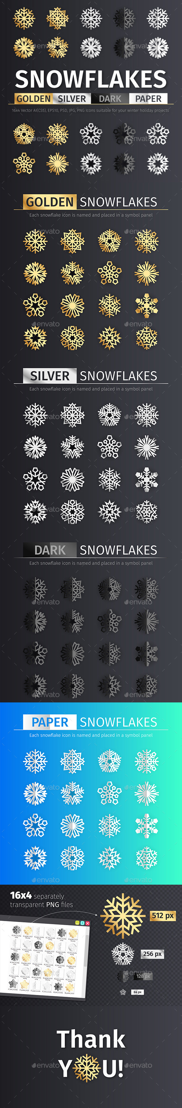 GraphicRiver Golden and Silver Snowflake Icons 21082287