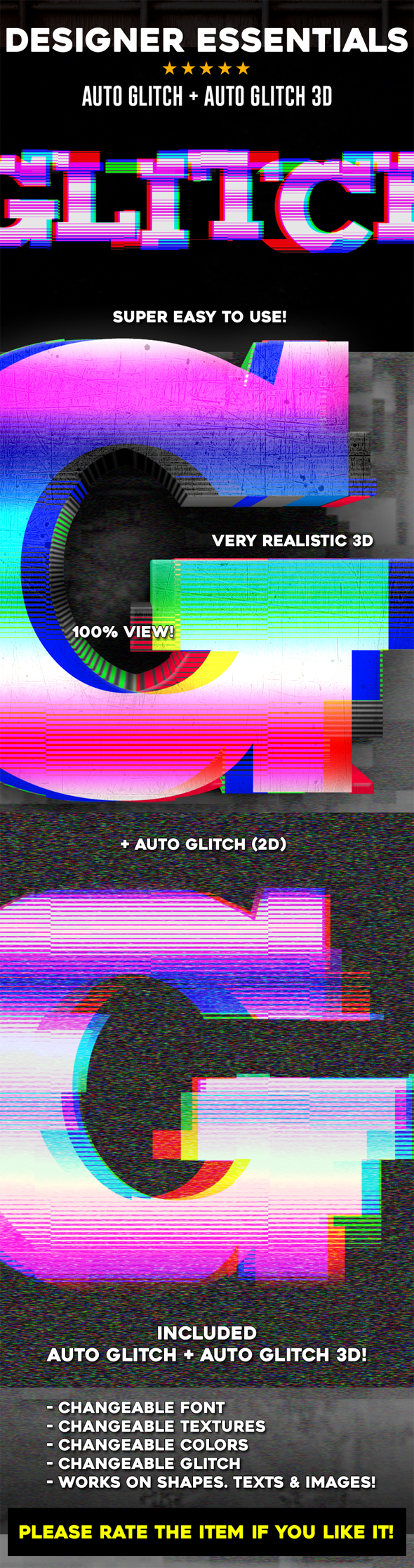 Auto Glitch + Auto Glitch 3D - Text Effects Actions
