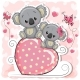 Two Koalas Sitting on a Heart