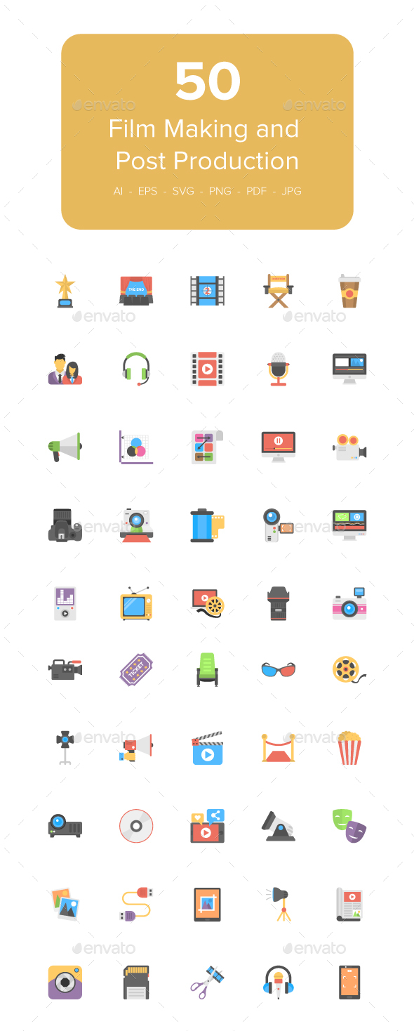 50 Flat Film Making Icons - Icons
