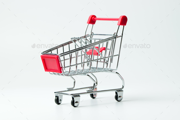 Empty red color shopping cart - Stock Photo - Images