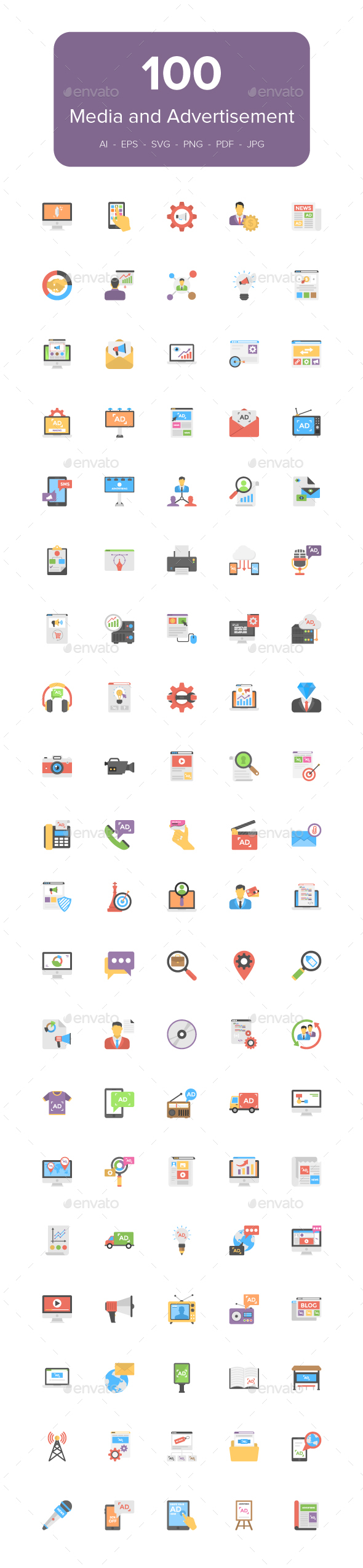 GraphicRiver 100 Flat Media and Advertising Icons 21082535