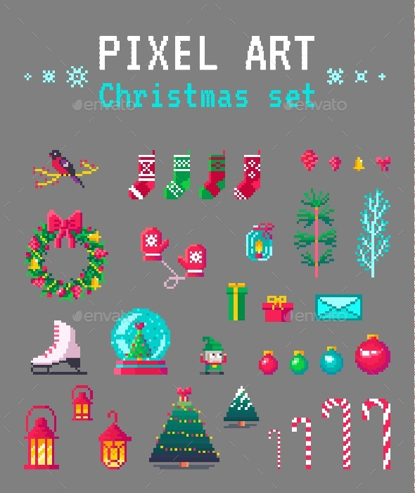 GraphicRiver Cute Pixel Art Christmas Set 21082588