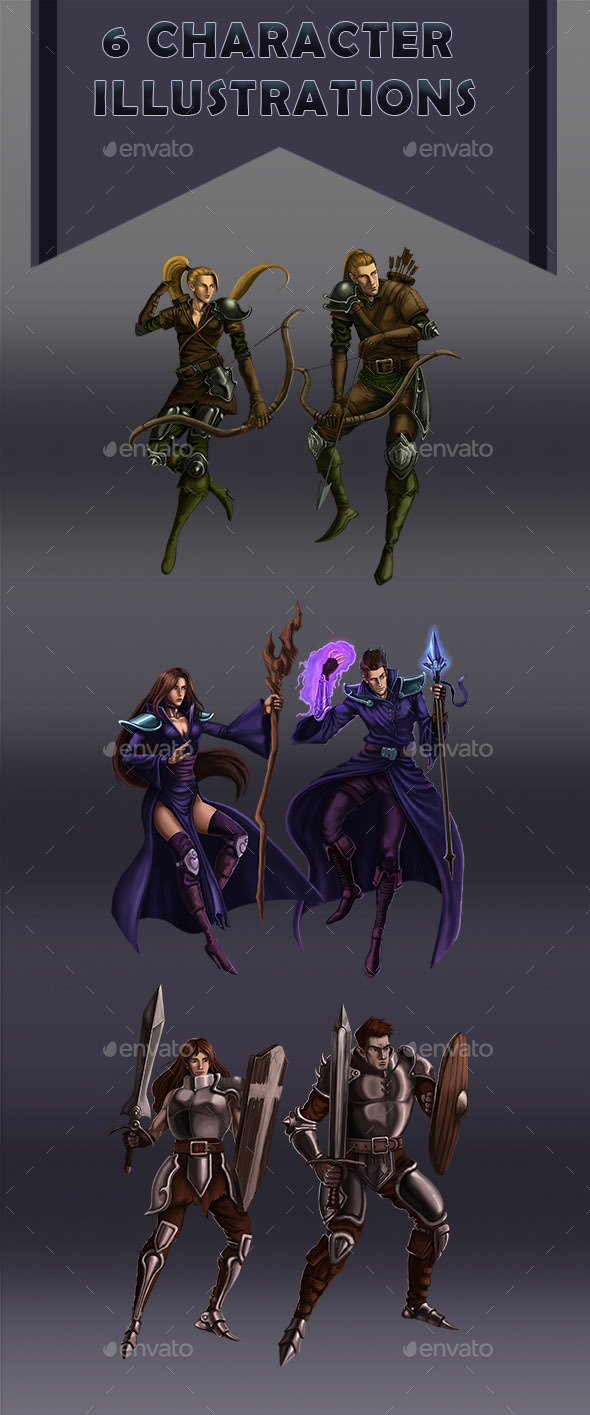 6 Character Illustrations - Mage Warrior and Archer - Miscellaneous Game Assets