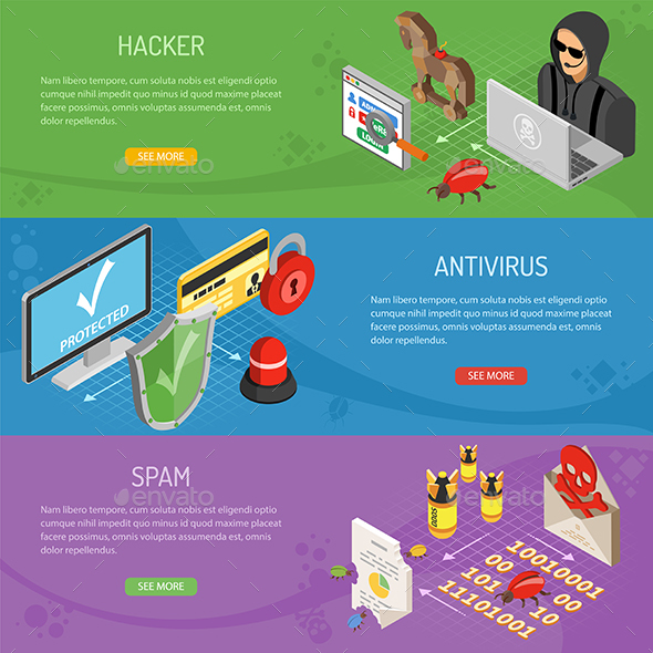 GraphicRiver Internet Security Isometric Horizontal Banners 21082858