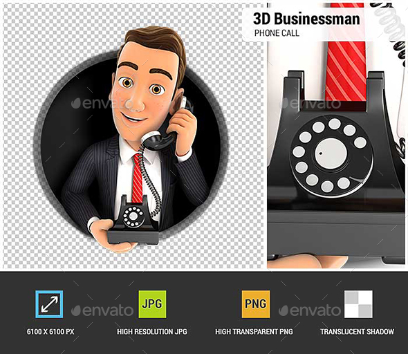 GraphicRiver 3D Businessman Making Phone Call Inside Circular Hole 21082937