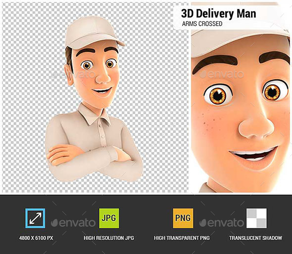 GraphicRiver 3D Delivery Man with Arms Crossed 21082942