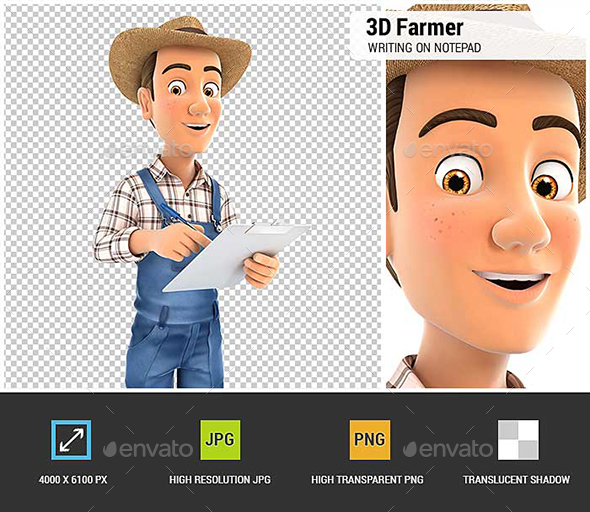 GraphicRiver 3D Farmer Writing on Notepad 21082948