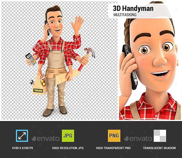 GraphicRiver 3D Handyman Multitasking 21082958