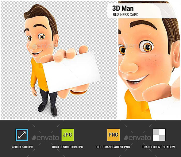 3D Man Holding Business Card - Characters 3D Renders