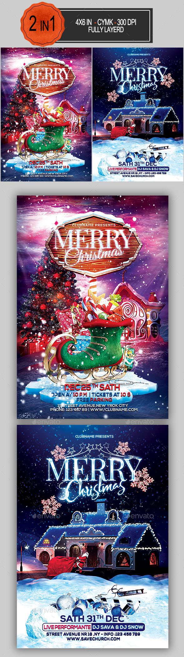 GraphicRiver Christmas Flyer Bundle 21075011