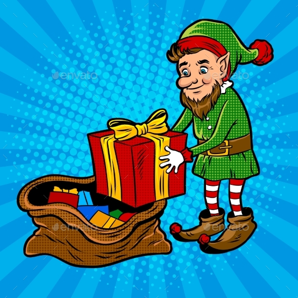 GraphicRiver Santa Gnome and Gift Box Pop Art Vector 21083053