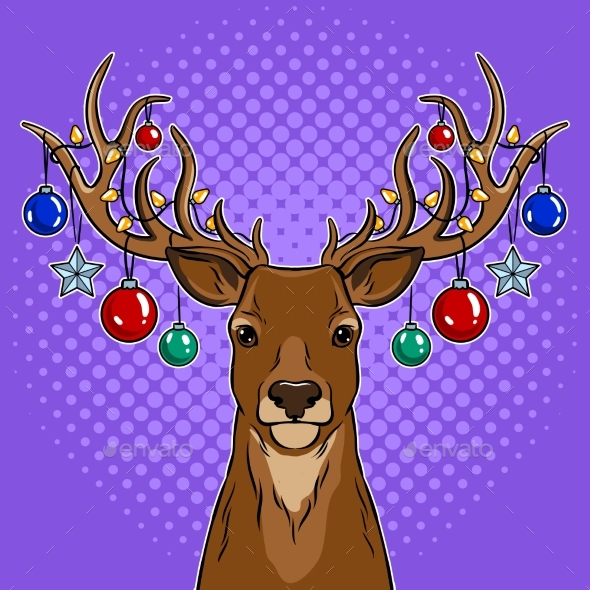Christmas Deer with Toys Pop Art Vector - Miscellaneous Vectors