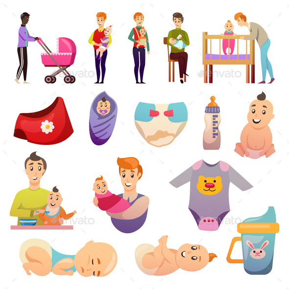Fathers  Parental Leave Orthogonal Icons - People Characters