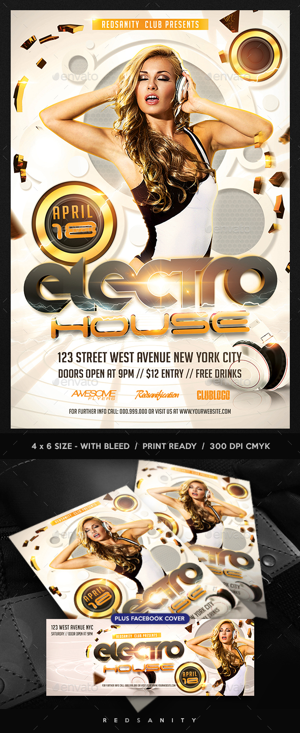 Electro House Flyer Template Plus FB Cover - Clubs & Parties Events