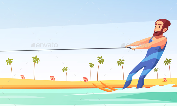 GraphicRiver Water Skiing Illustration 21083104