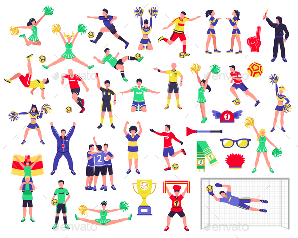 Soccer Fan Characters Set - Sports/Activity Conceptual