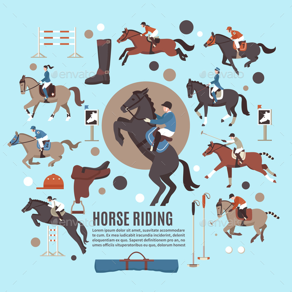 Horse Riding Flat Composition - Sports/Activity Conceptual