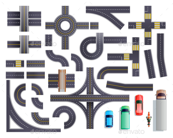 Road Parts Vehicles Set - Miscellaneous Vectors