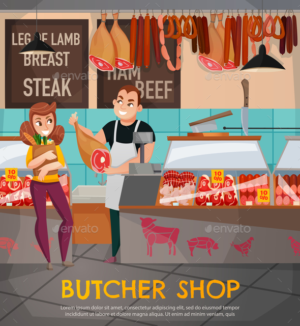 GraphicRiver Butcher Shop Illustration 21083124