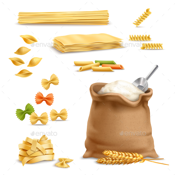 GraphicRiver Realistic Pasta Wheat Spikelets Flour 21083139