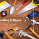 Carpentry Instruments Realistic Background Composition