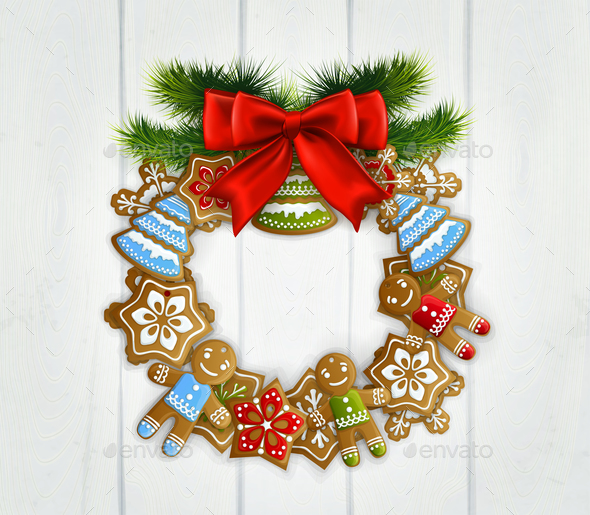 GraphicRiver Christmas Wreath with Red Bow 21083149