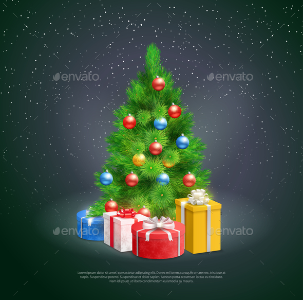 GraphicRiver Christmas Tree With Gift Boxes 21083152