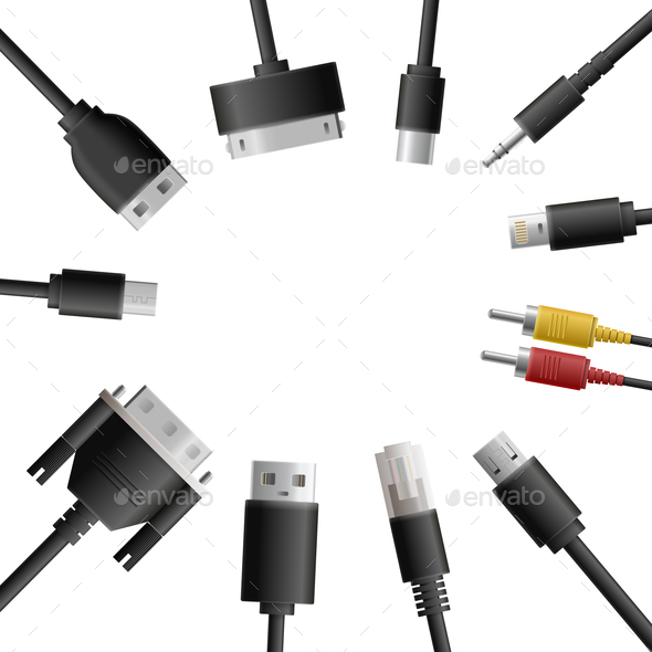 Multimedia Cables Round Composition - Computers Technology