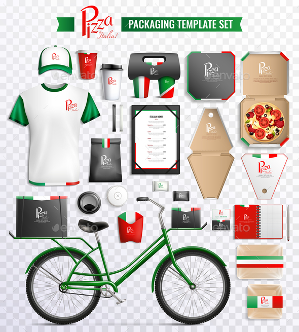Pizza Packaging Template Set - Food Objects