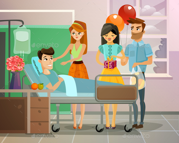 Patient With Visitors Illustration - People Characters