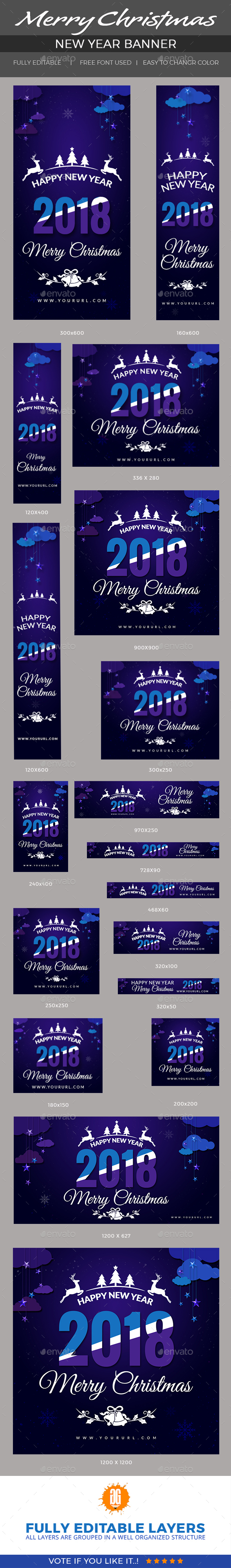 Christmas and New Year Banners - Banners & Ads Web Elements