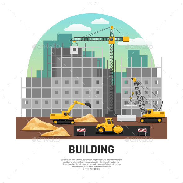 GraphicRiver Building Construction Machinery Flat Composition 21083205