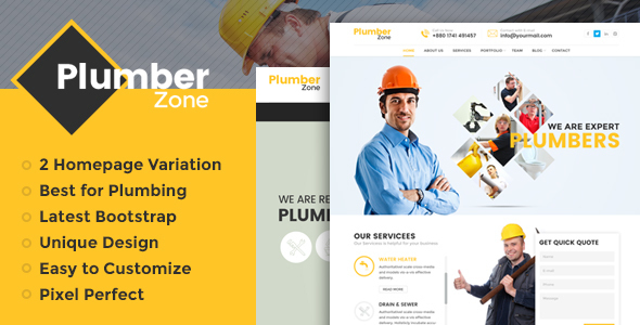 Plumber Zone - Plumbing, Repair & Construction WordPress Theme - Business Corporate
