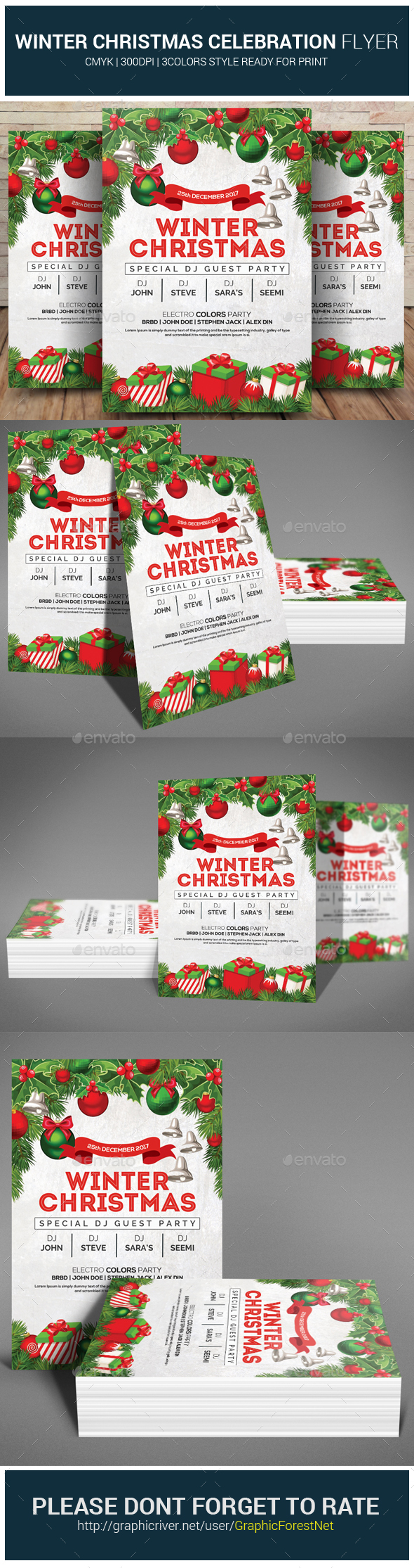 GraphicRiver Winter Christmas Celebration Flyer 21083375