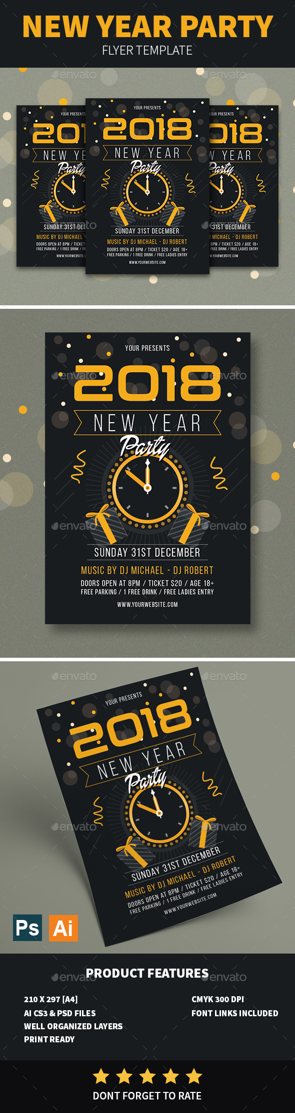GraphicRiver New Year Party Flyer 21083500