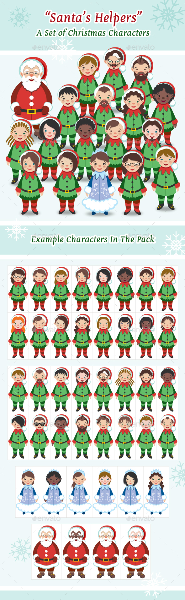 GraphicRiver Santa's Helpers A Set of Christmas Characters 21076551