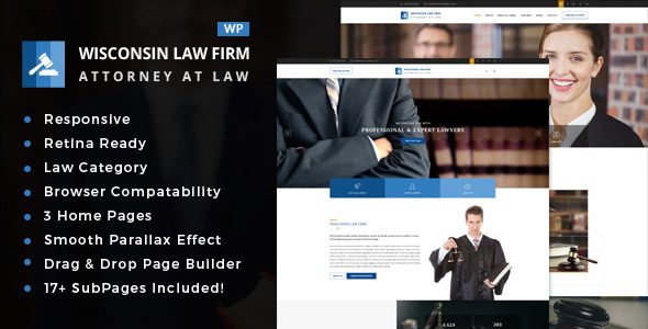 Wisconsin - Law Firm WordPress Theme - Business Corporate