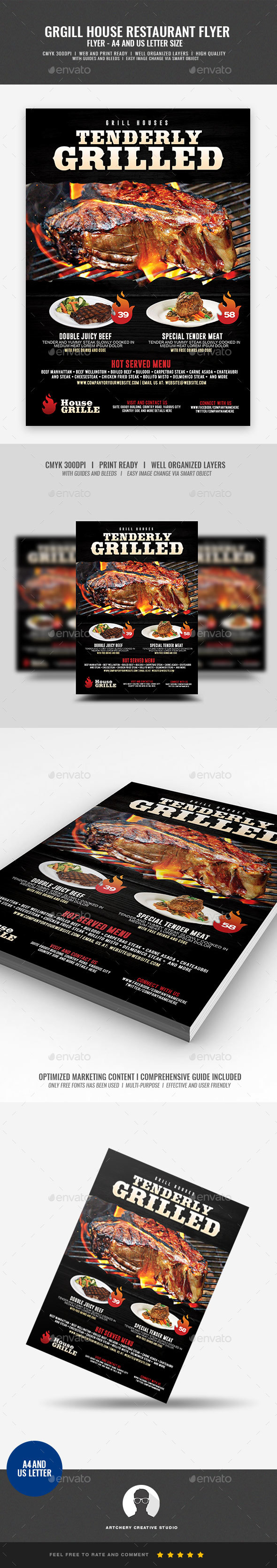 GraphicRiver Steakhouse and Barbecue Flyer 21083806
