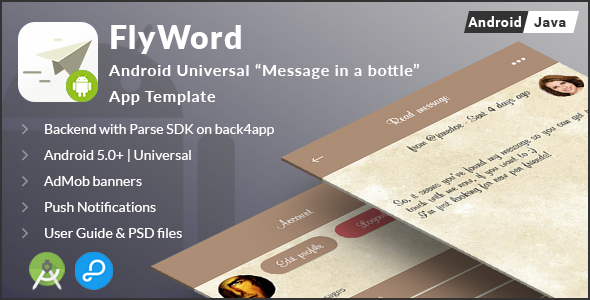 CodeCanyon FlyWord Android Universal Message in a bottle App Template 21083827
