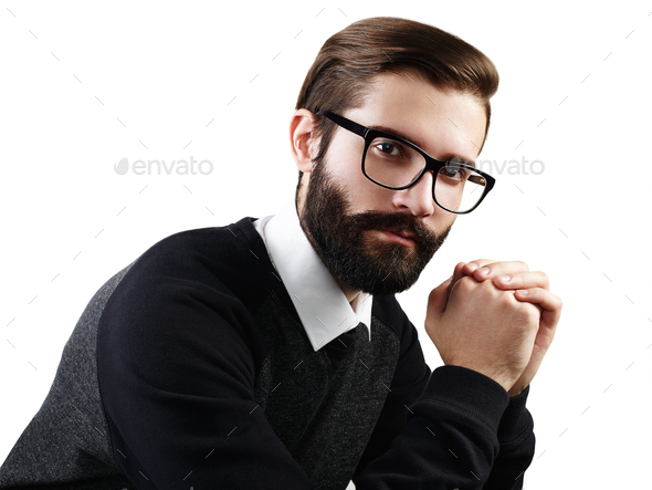 Portrait of handsome man with beard - Stock Photo - Images