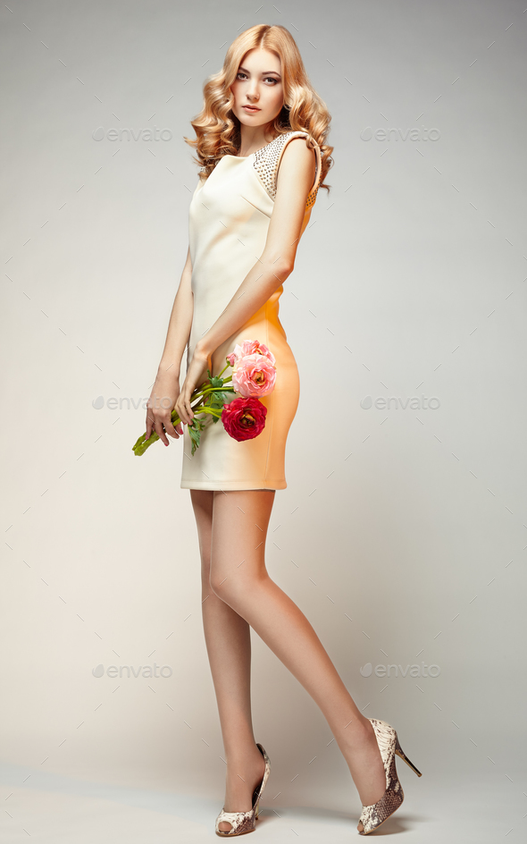 Fashion photo of young magnificent woman - Stock Photo - Images