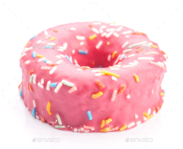 donut strawberry glaze - Stock Photo - Images