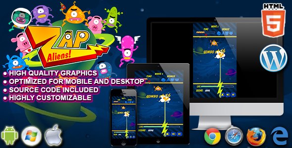 Zap Aliens - HTML5 Arcade Game - CodeCanyon Item for Sale