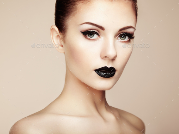 Beautiful woman with perfect makeup. Beauty portrait - Stock Photo - Images