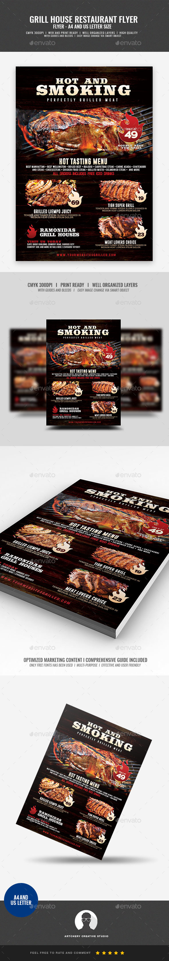 GraphicRiver Barbecue Restaurant and Steak House Flyer 21084221